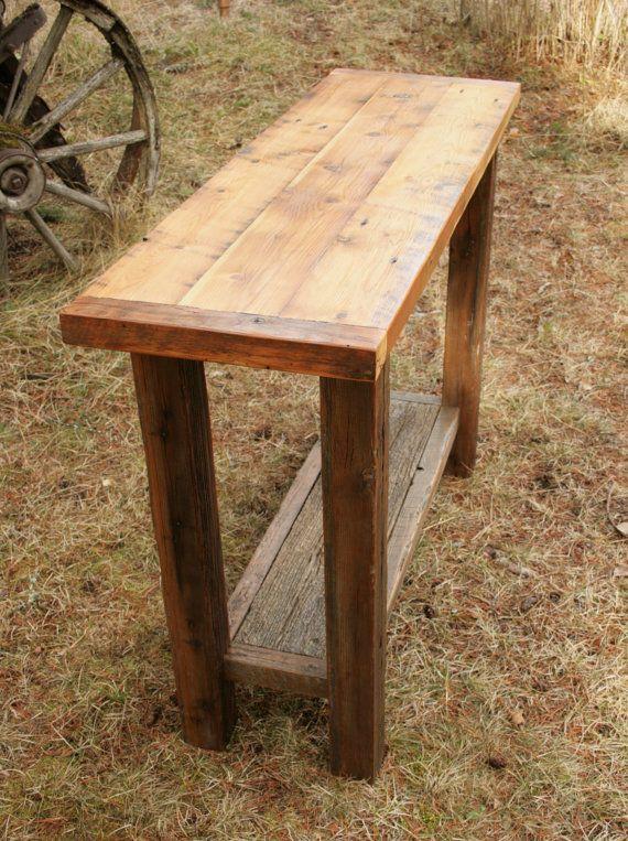 Rustic Reclaimed Barnwood Sofa Table By Echopeakdesign On Etsy