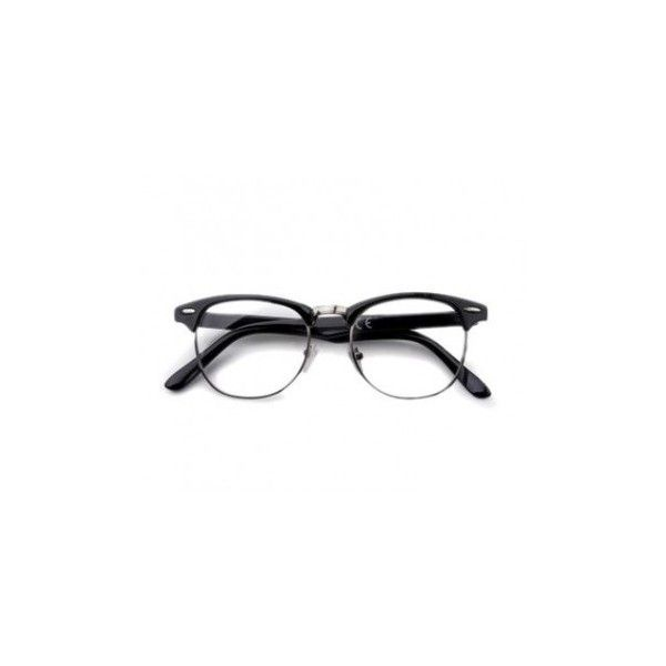 black frame clear glasses ($7.04) ❤ liked on Polyvore featuring ...