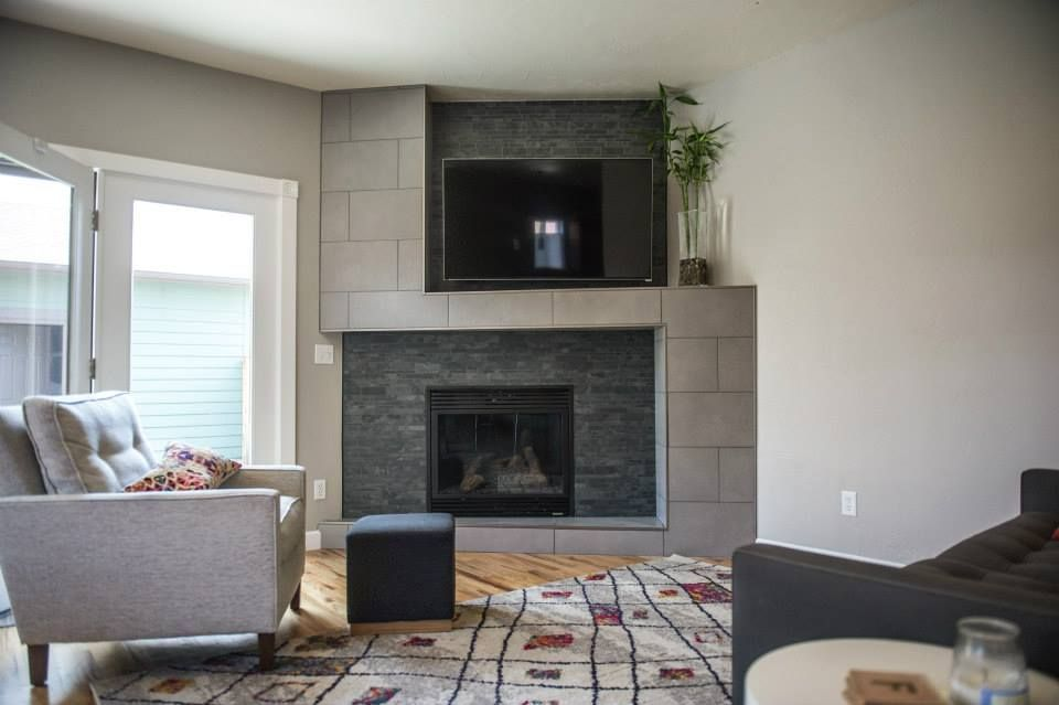 Fireplace and living room remodel and interior design by TVL Creative.
