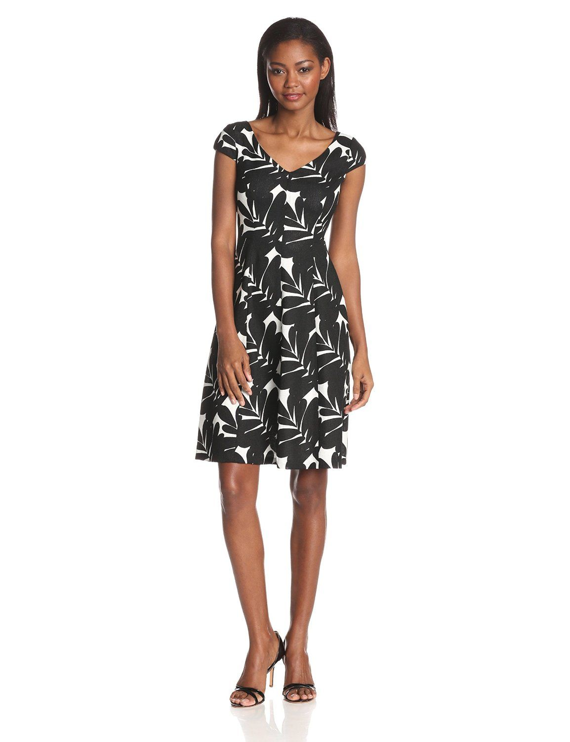 Cap Sleeve V Neck Printed Fit and Flare Dress by Anne Klein