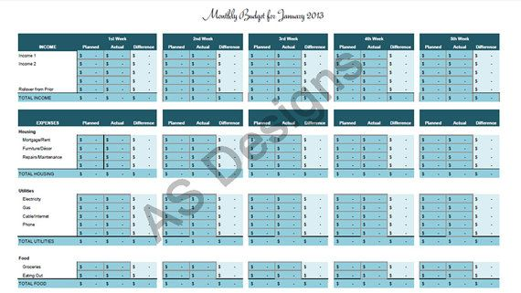 Zero Based Budget Excel Spreadsheet by amandascacchidesigns, $600 - budgeting excel spreadsheet