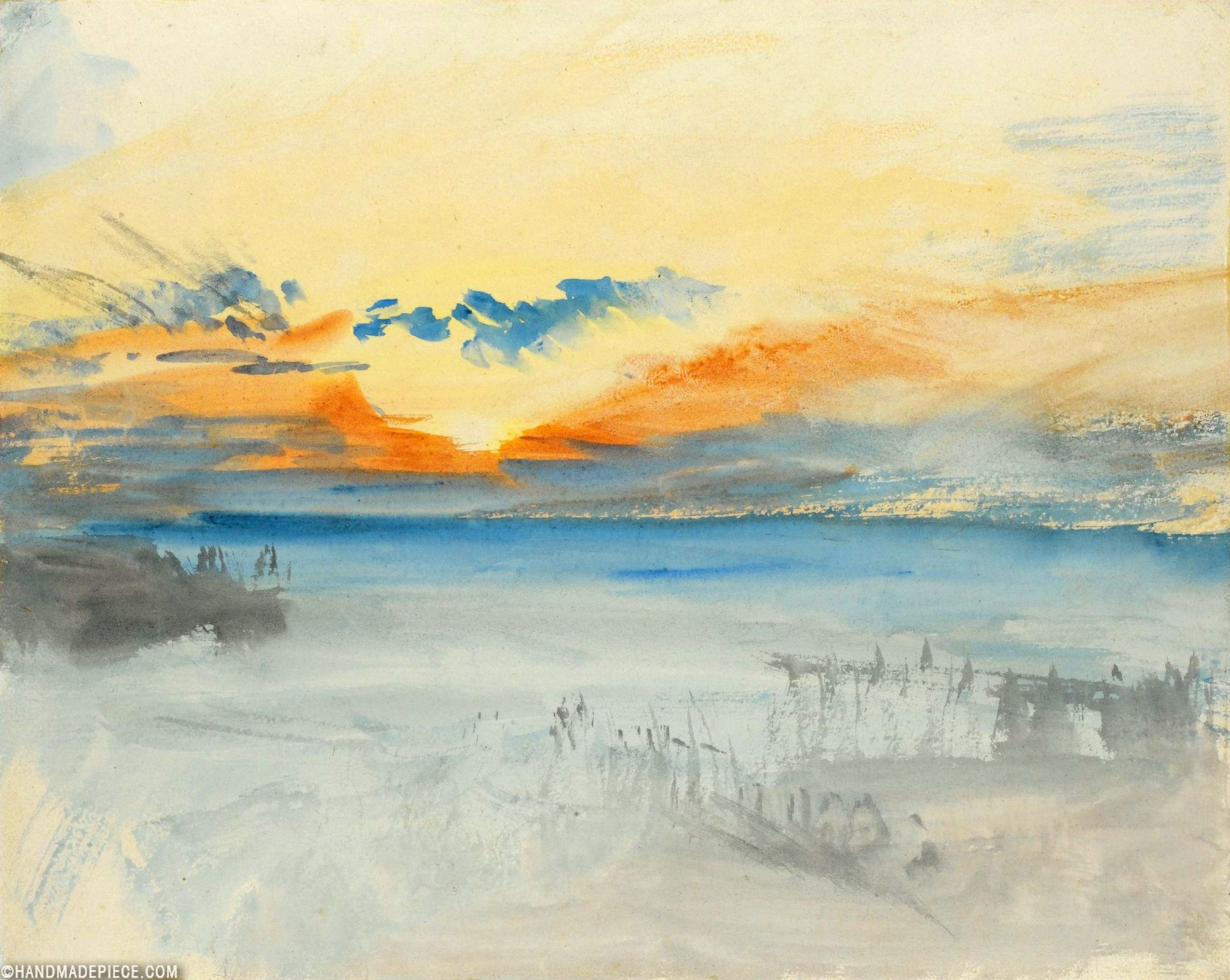 Sunset Over Water In 2020 Turner Watercolors William Turner Art