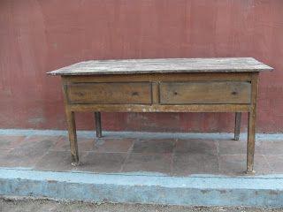 decoración vintage, antiguitats-baraturantic: antigua mesa de cocina ...