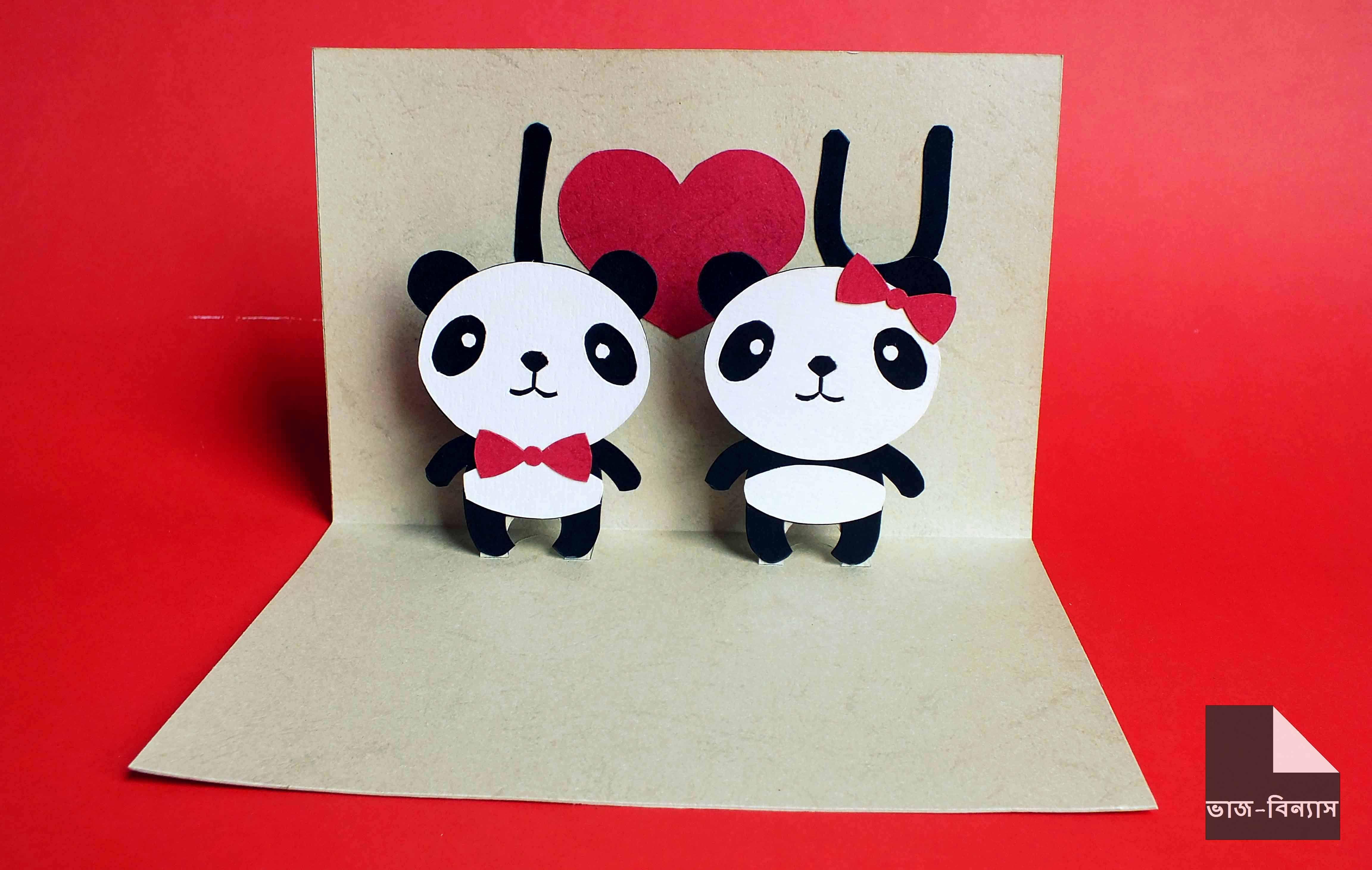 Panda Love Pop Up Card For More Visit Https Www Facebook Com Vaj Binnash Pop Up Cards Panda Love Cards