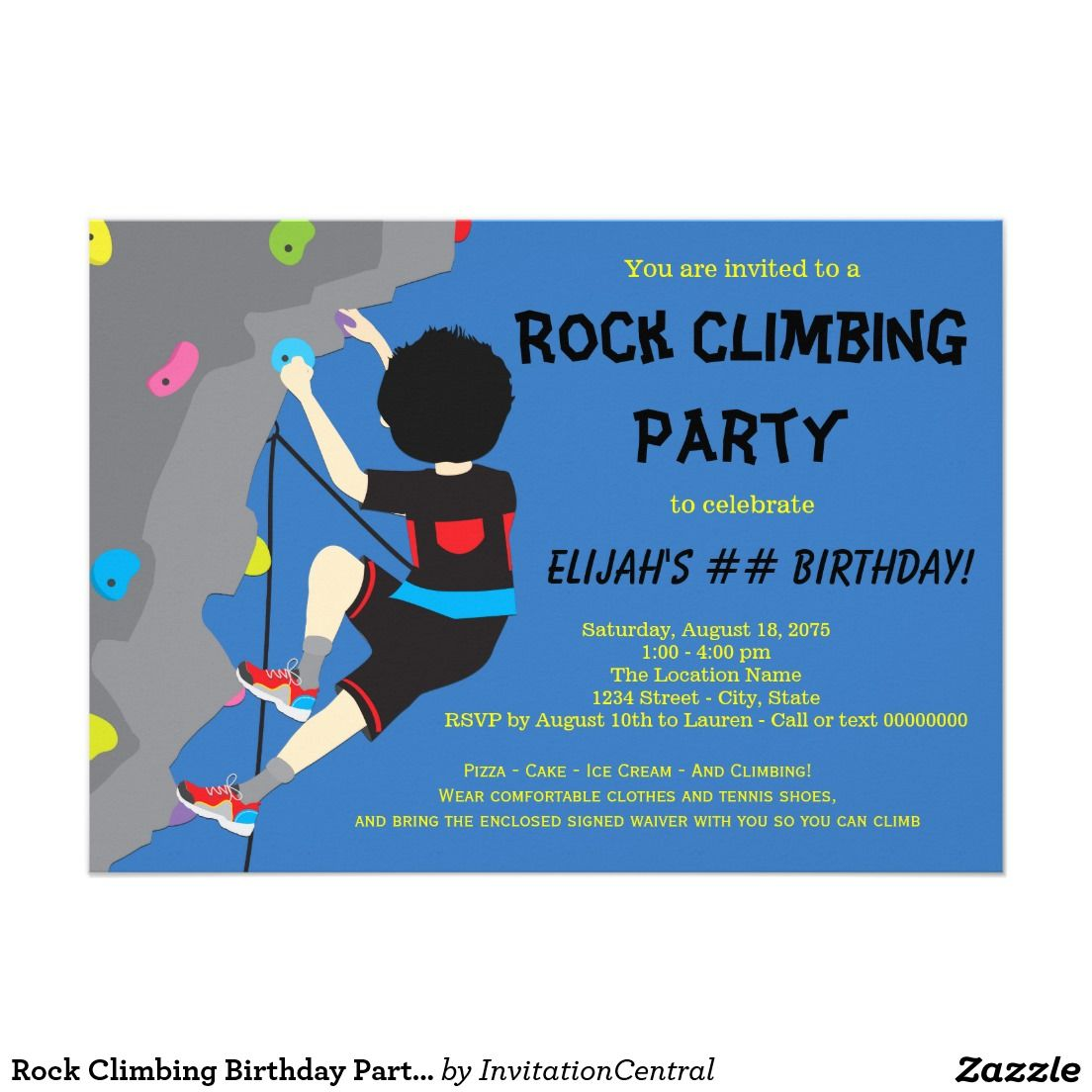 Rock Climbing Party Invitations Gallery - invitation templates free ...