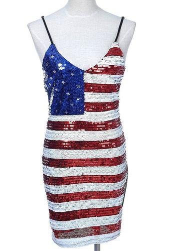 299ad90929d PrettyGuide Women Sequins American Flag Bodycon Spaghetti Strap Club Dance  Dress  SequinDress  BodyconDress
