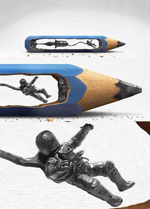 Carved within a real pencil...