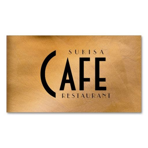 Copper Metallic Restaurant Business Card. Business card for a high-end restaurant, cafe, chef or catering. Sukisa Cafe Restaurant business cards. DIY business cards. #diy #diybusinesscards #restaurantbusinesscards