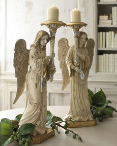 Christmas Angel Pillar Candleholders