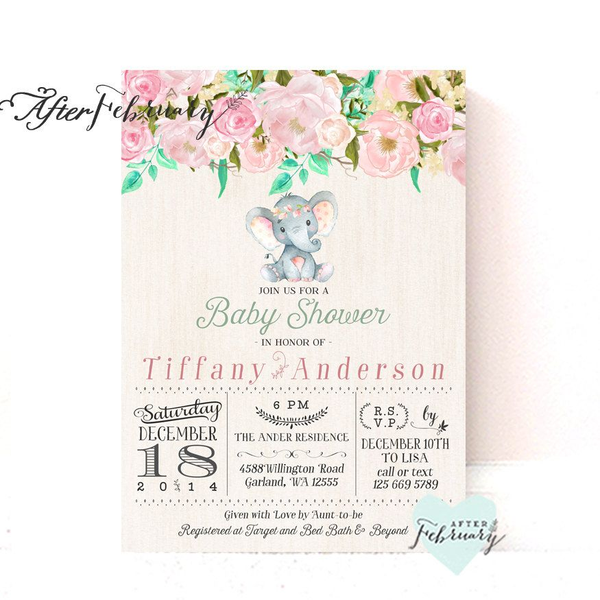 Girl Elephant Baby Shower Invitation Rustic Blush Pink Mint | For ...