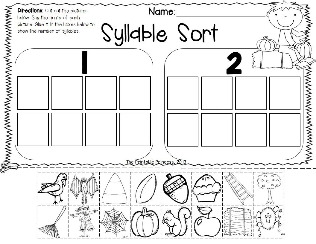 worksheet Syllable Worksheets For Kindergarten fall math and literacy centers for kindergarten recording sheets 17 common core aligned center activities all