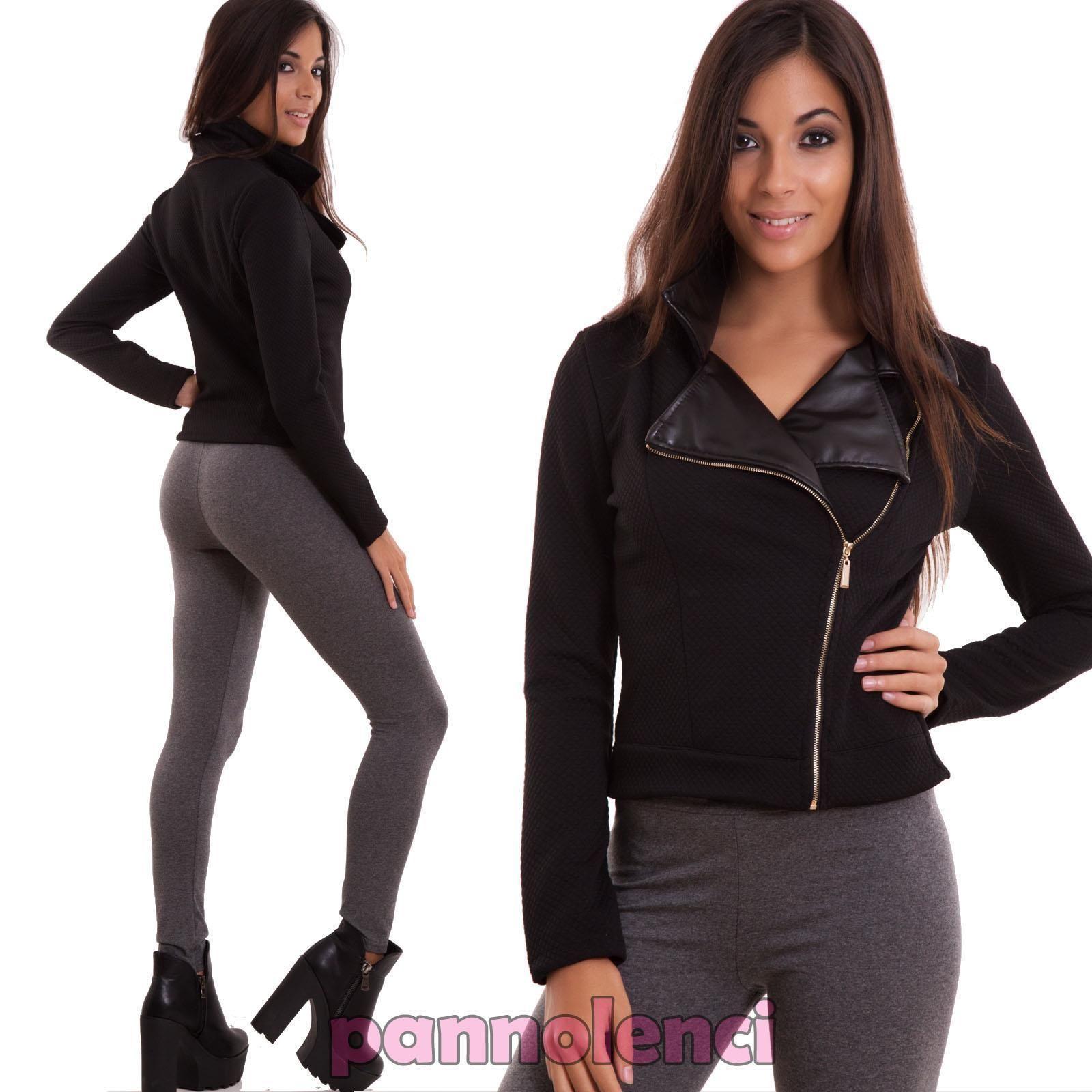 Giacca donna maglia zip nera maniche lunghe stile chiodo sexy nuova CR-1787