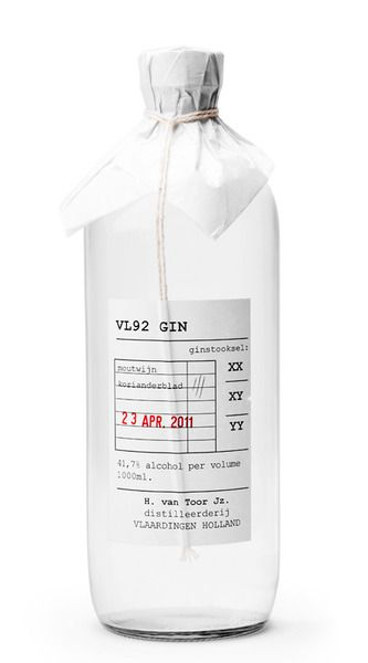 Pared back, beautifully undesigned, functional packaging for VL92 Gin.