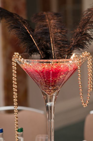 Inspired ~ Feather U0026 Beads In A Cocktail Glass Table Centerpiece ~ Adapt To  Your Own Colour Scheme
