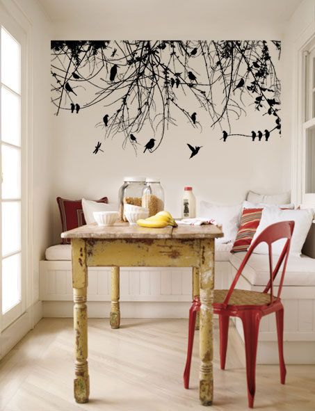 tree branch with birds vinyl wall art home pinterest w nde tapeten und haus. Black Bedroom Furniture Sets. Home Design Ideas