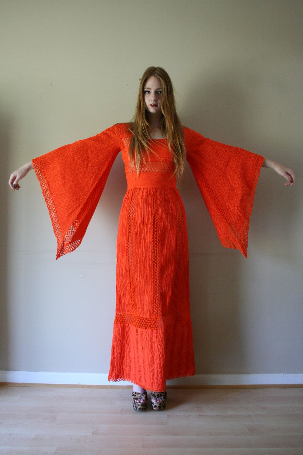 Reserved s angel sleeve maxi gown mexican wedding dress bright