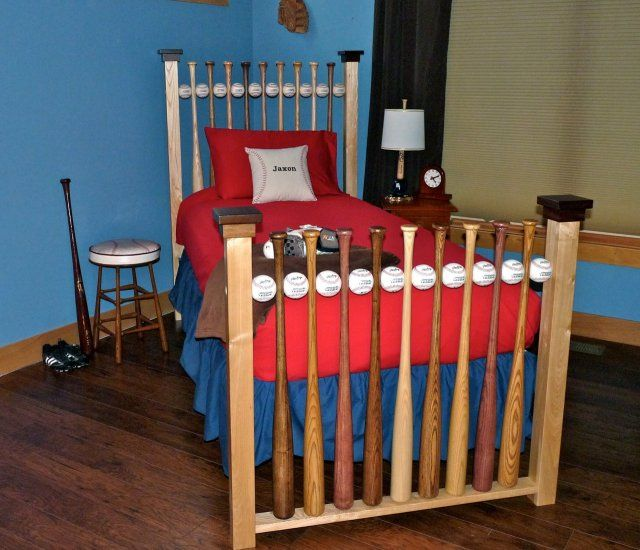 Baseball Bat And Ball Bed Solid Wood Hardwood Furniture Twin