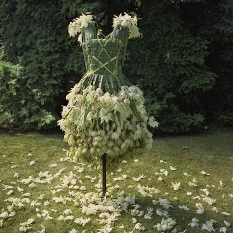 green - verde vestido feito com flores