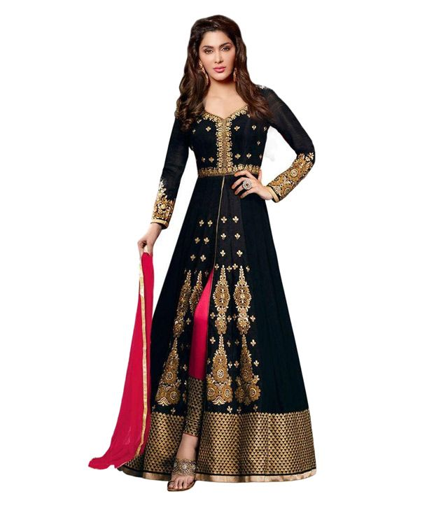 f70e6ab0fb Angel Queen Black Georgette Anarkali Gown Semi Stitched Suit Price in India  - Buy Angel Queen Black Georgette Anarkali Gown Semi Stitched Suit Online  at ...