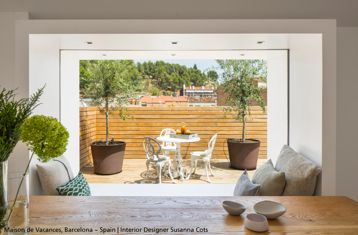 #spring. To illuminate the frame around this cozy banquette in order to enjoy this sumptuous terrace from the inside of the house: #ZenoUp3. #design Jan Van Lierde