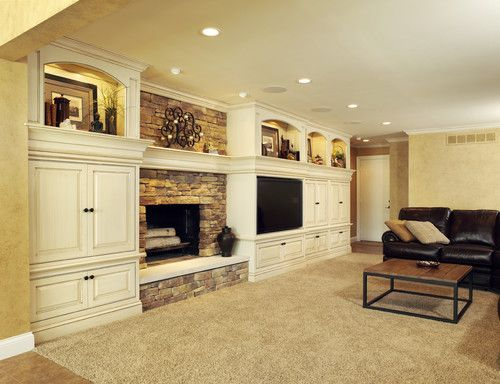 Traditional Family Room Fireplace Design, Pictures, Remodel, Decor ...