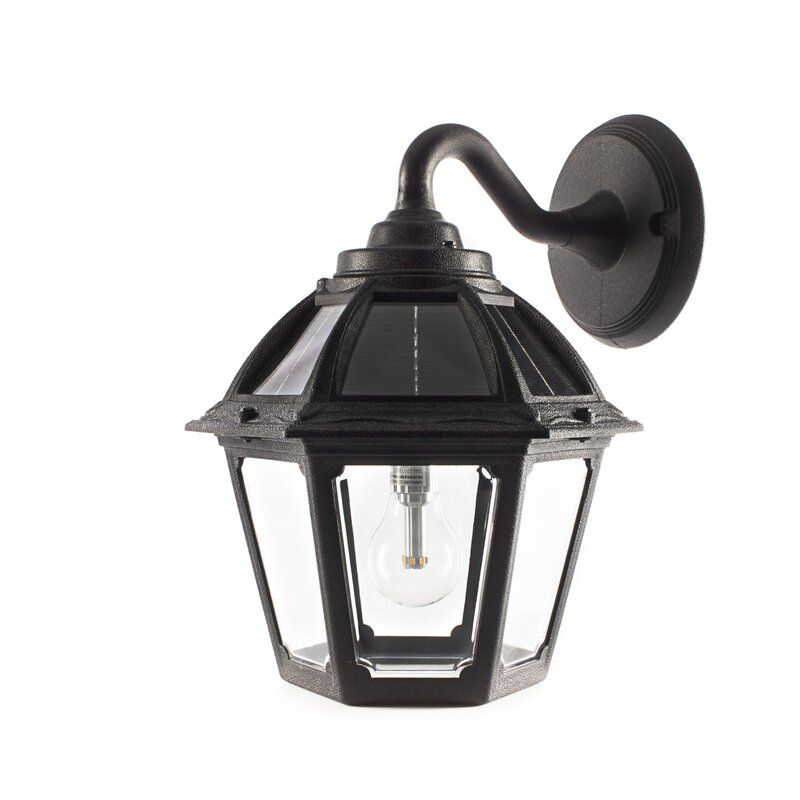 Rioux Black Solar Powered Glass Outdoor Barn Light With Dusk To Dawn Outdoor Wall Lantern Solar Wall Lights Outdoor Barn Lighting Solar powered outdoor wall lighting