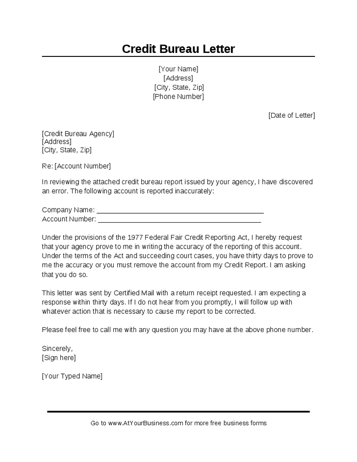 Sample Credit Bureau Dispute Letter #fixmycredit | Credit report
