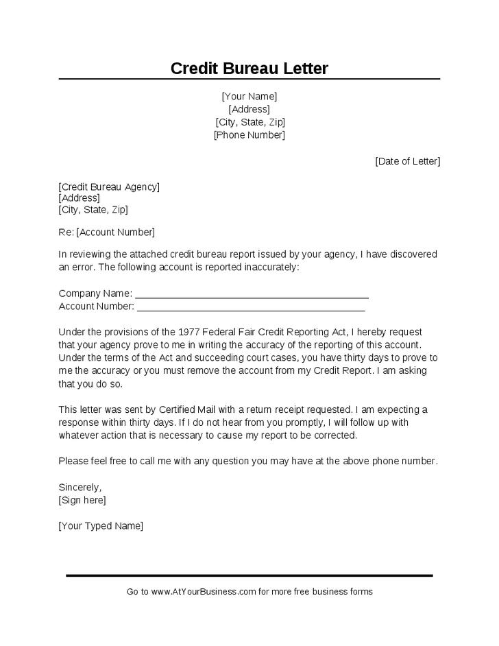 Credit Report Dispute >> Sample Credit Bureau Dispute Letter Fixmycredit Credit Report