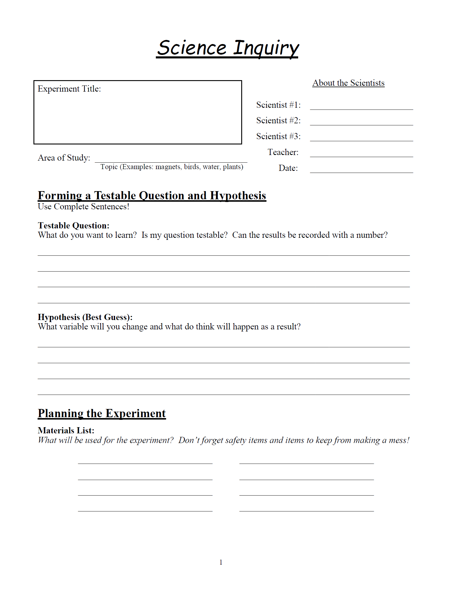 Free science inquiry worksheets. Multiple Pages in pdf