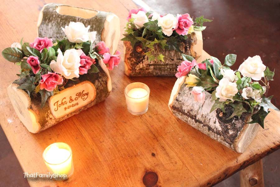 Log flower vase rustic wedding table centerpiece