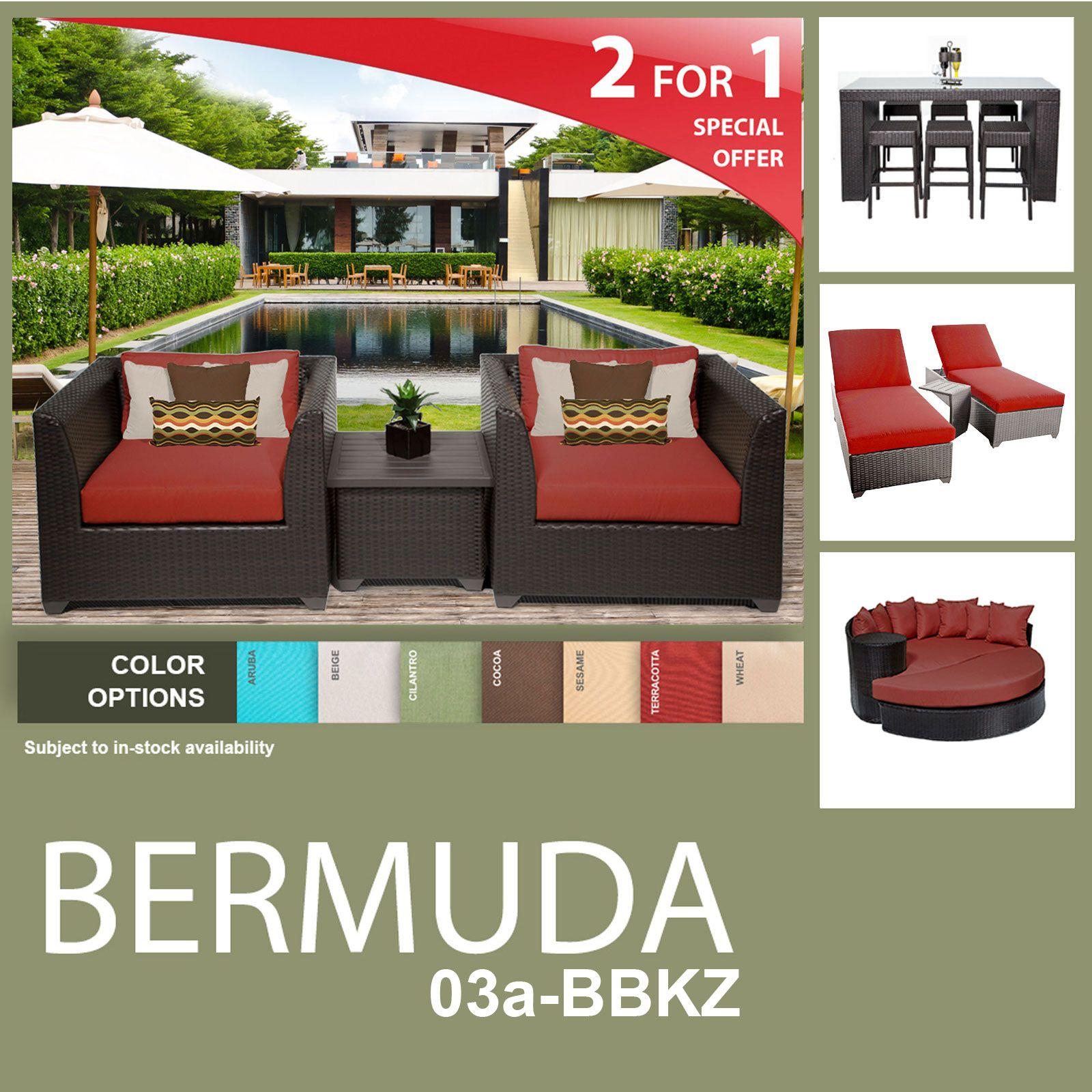 Bermuda 15 Piece Outdoor Wicker Patio Furniture Package Bermuda