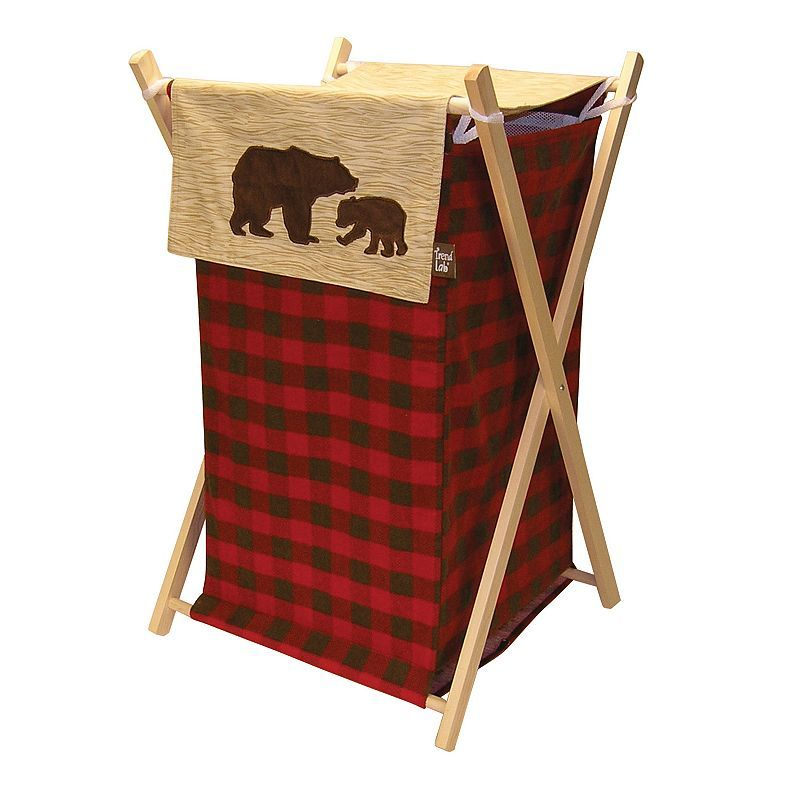 Trend Lab Northwoods Hamper Plaid Nursery Bear Decor