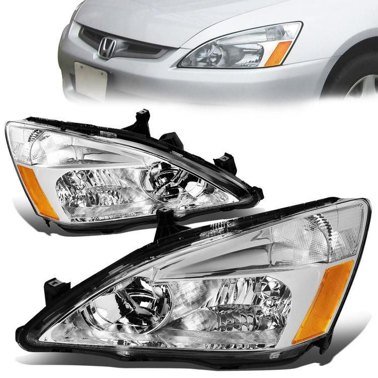 03 07 Honda Accord Headlights Chrome Housing Amber Corner Honda Accord Honda Headlights
