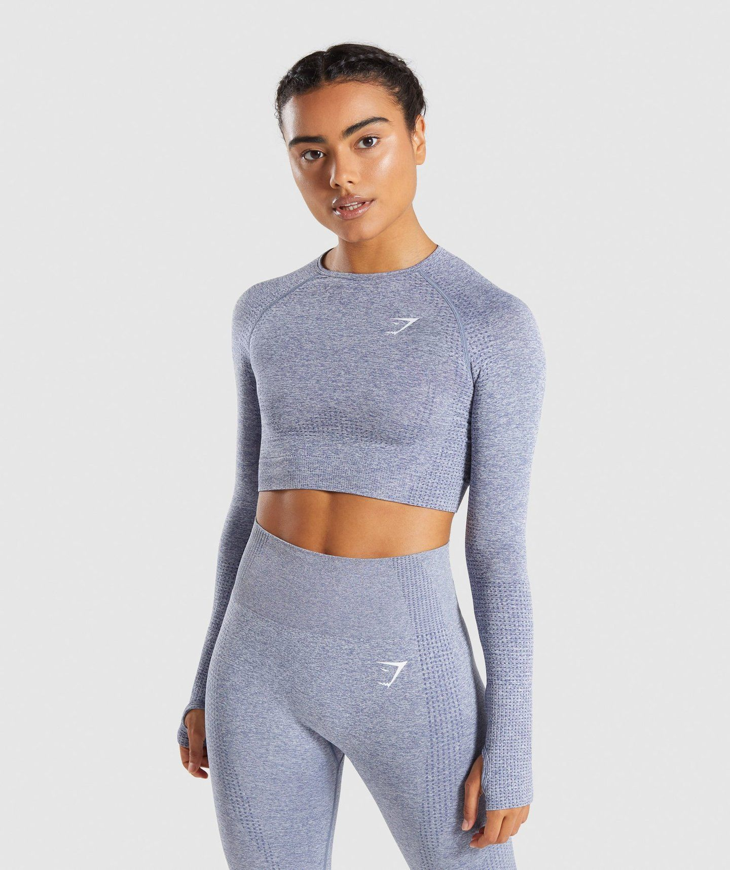 ff53dde4faa7dc Gymshark Vital Long Sleeve Crop Top - Steel Blue Marl - Extra Small ...