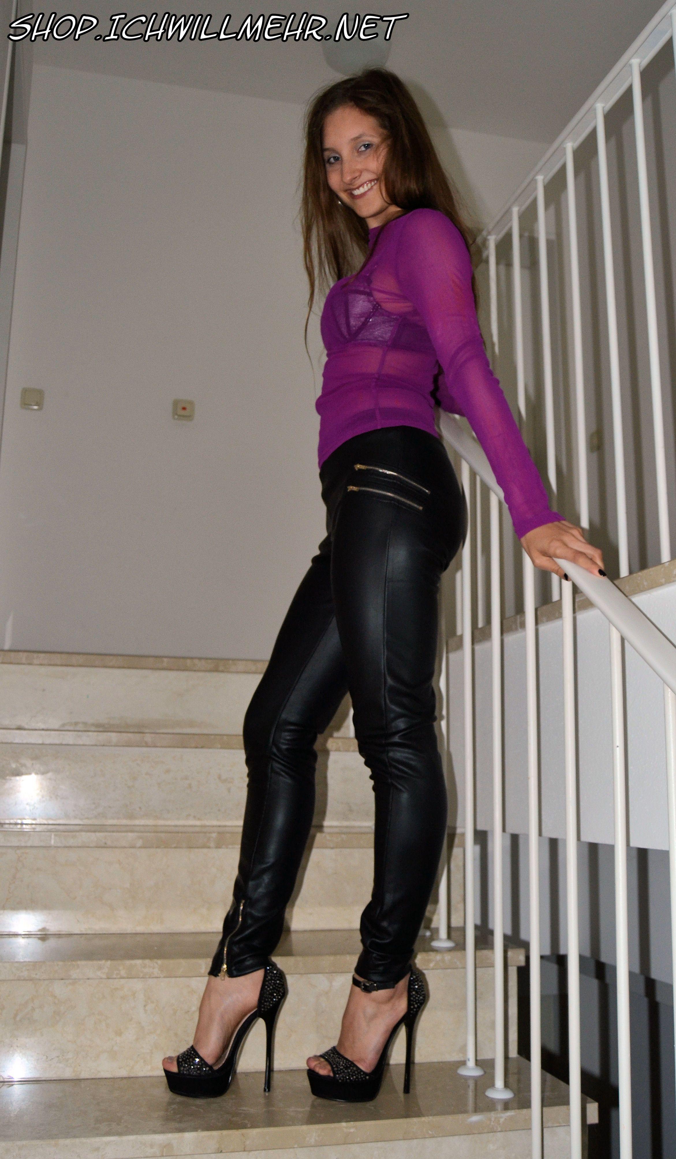 Leather Leggings, Shiny Leggings, Leather Fashion, Sexy Legs, High Heel,  Style, Sexy Women, Skinny, Beautiful Women