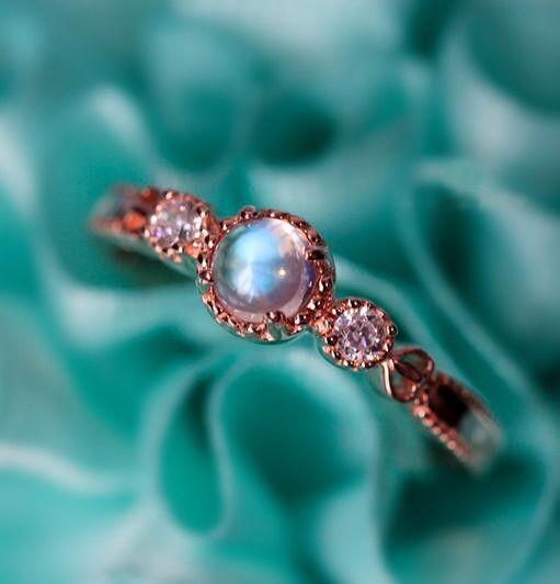 chic rose gold blue moonstone promise ring/ 2016 popular ...