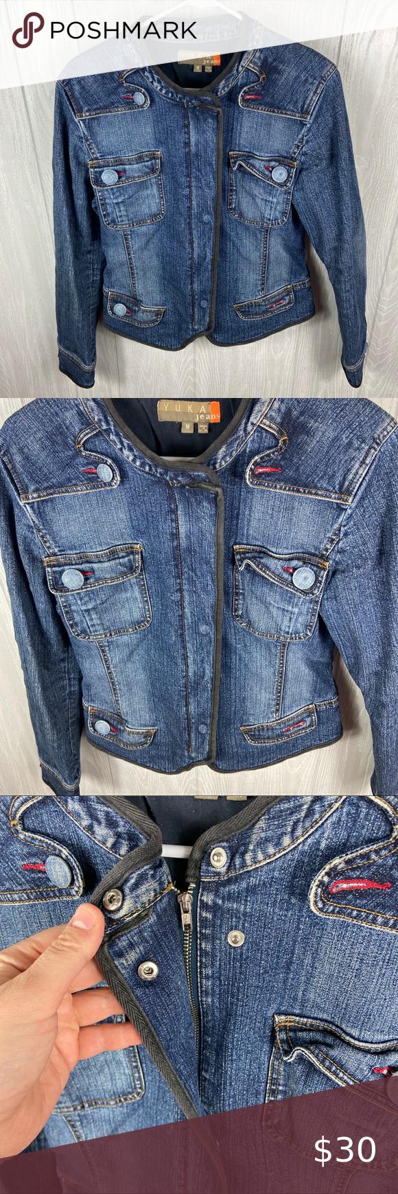 Yukka Jeans Jean Jacket Size Medium Jean Jacket Vintage Jacket Jackets [ 1740 x 580 Pixel ]