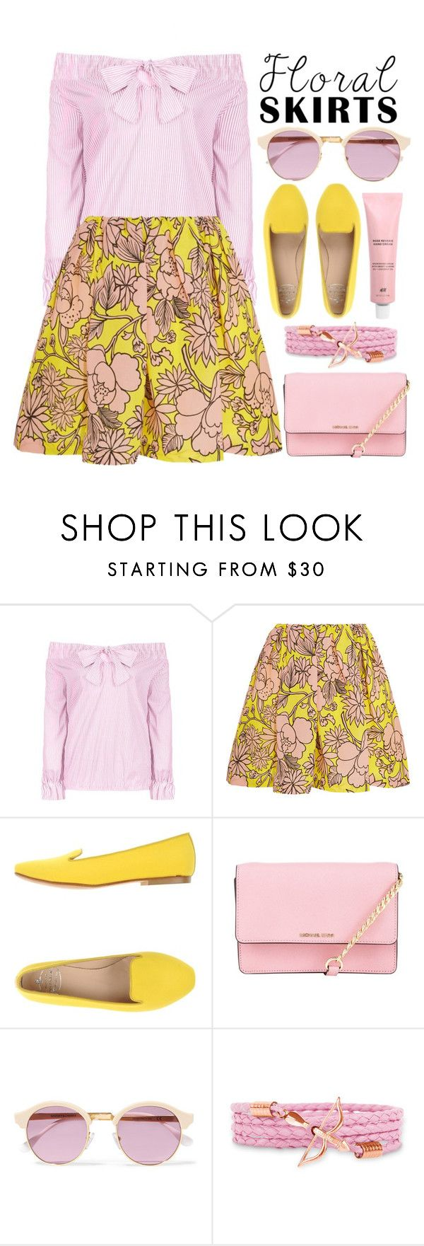 """Summer in my Floral Skirt"" by alaria ❤ liked on Polyvore featuring MSGM, SANTA CLARA Milano, MICHAEL Michael Kors, Sheriff&Cherry and Floralskirts"