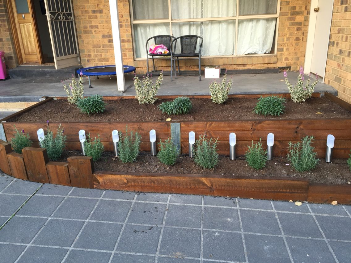 Stained Treated Pine Sleepers Front Garden Ideas Pinterest