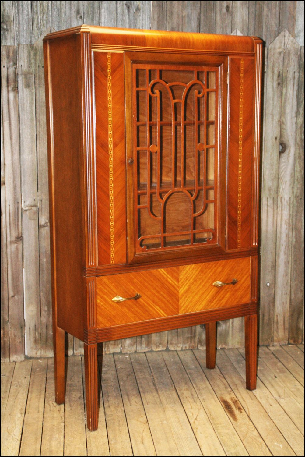 Art Deco WATERFALL CHINA CABINET Vtg Antique Curio Display Cupboard Hutch 40s 50s Wooden Dining