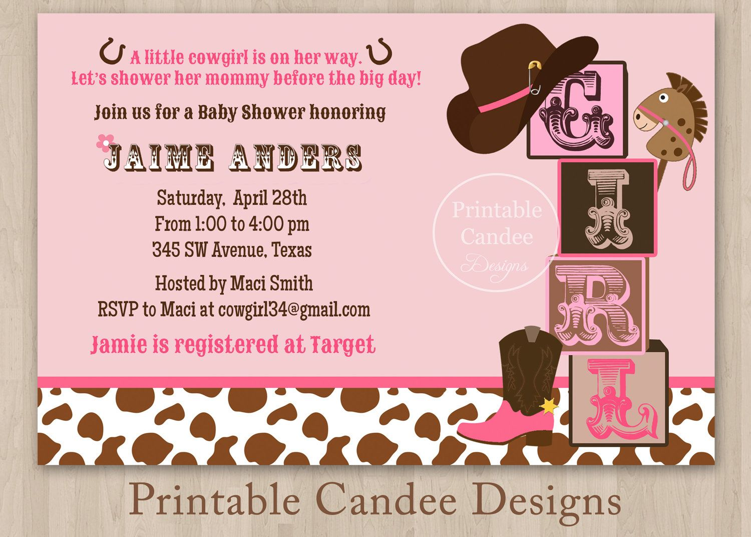 Little Cowgirl Baby Shower Invitation Custom Printable 10 00