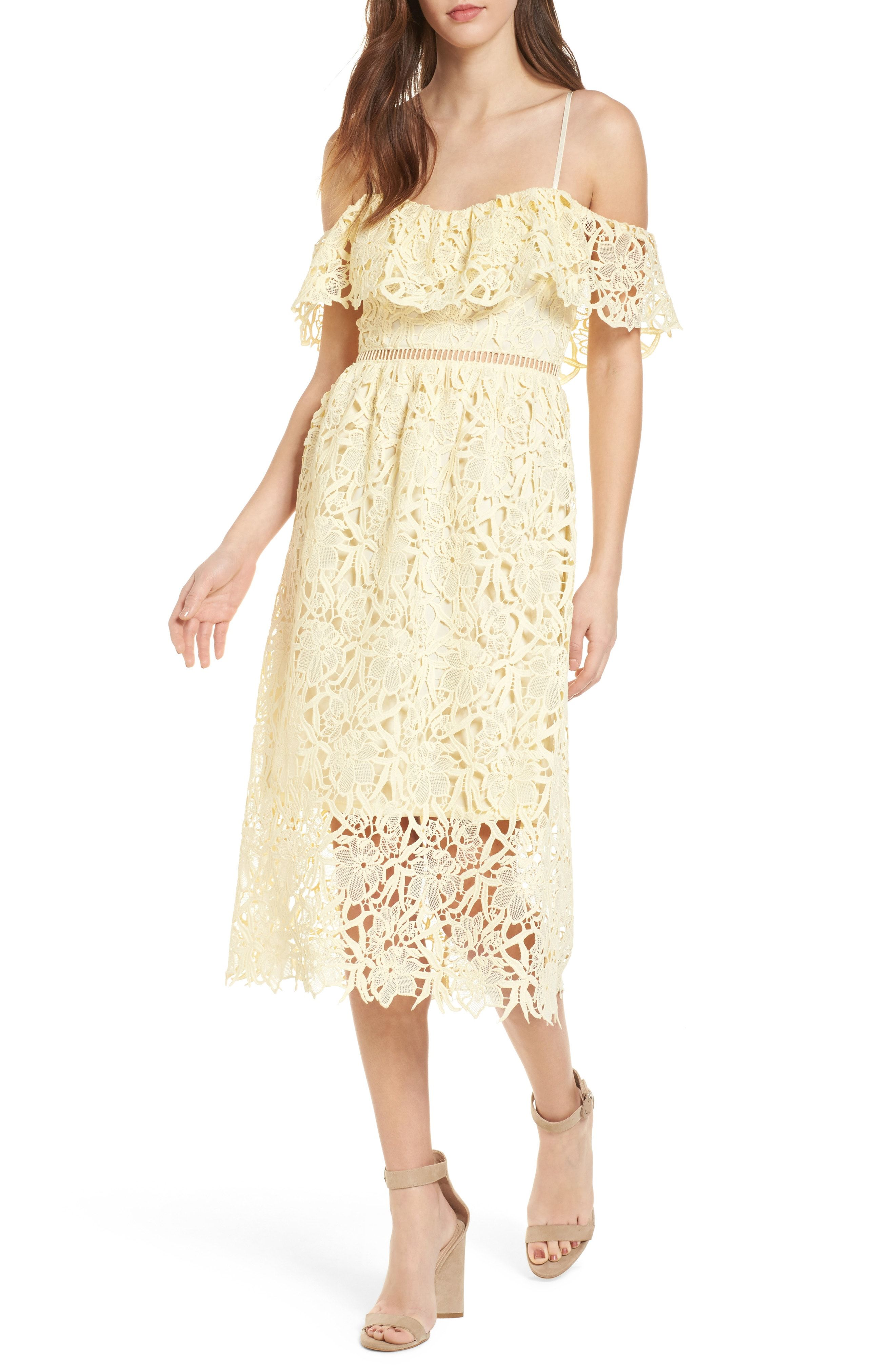 e0b5785fd1b ASTR the Label Lace Off the Shoulder Midi Dress available at  Nordstrom