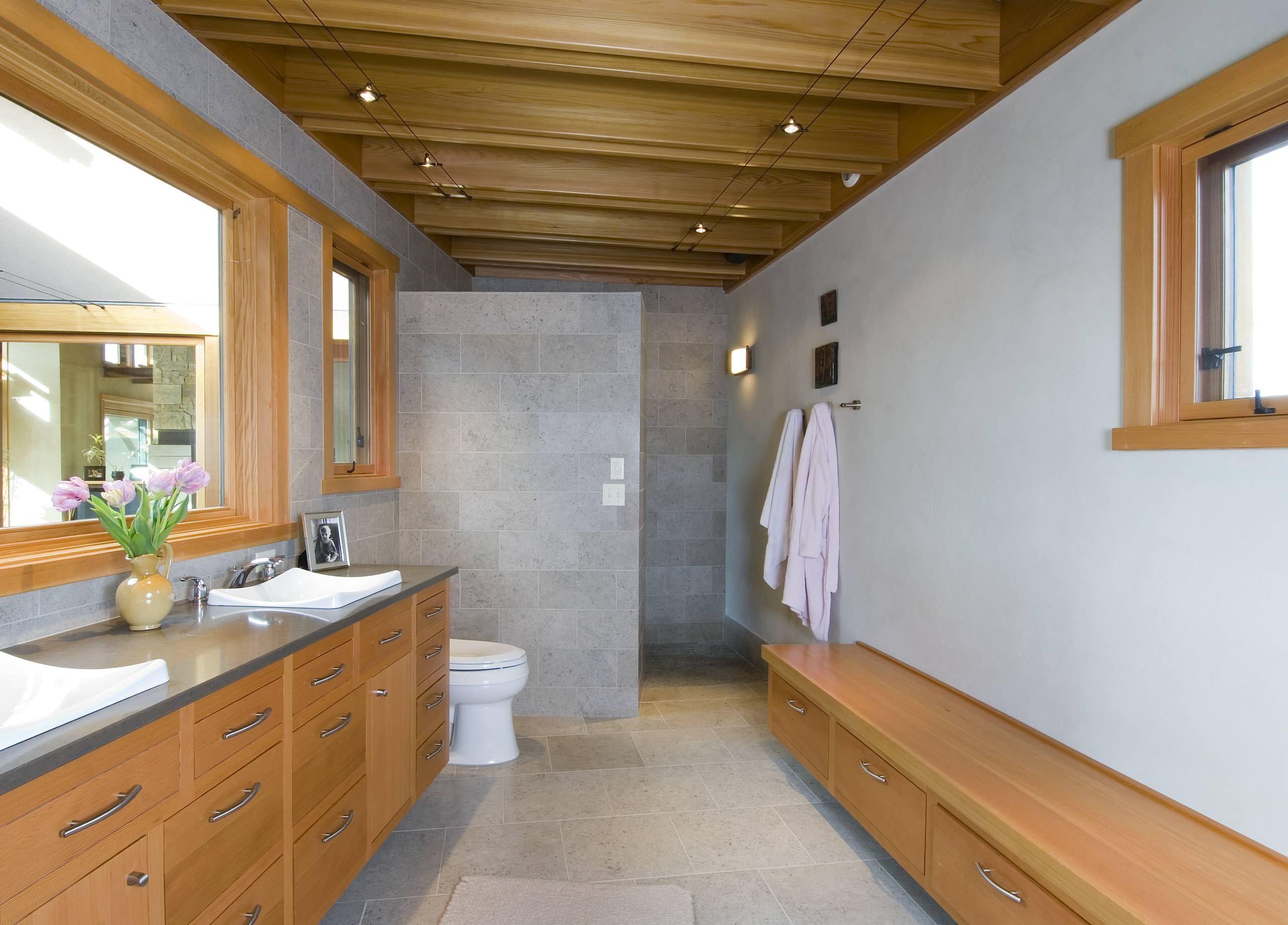 Bathroom:Ceiling Beams Track Lighting Bathroom Doorless Shower Designs  Floating Vanity Double Sinks Benches Plus