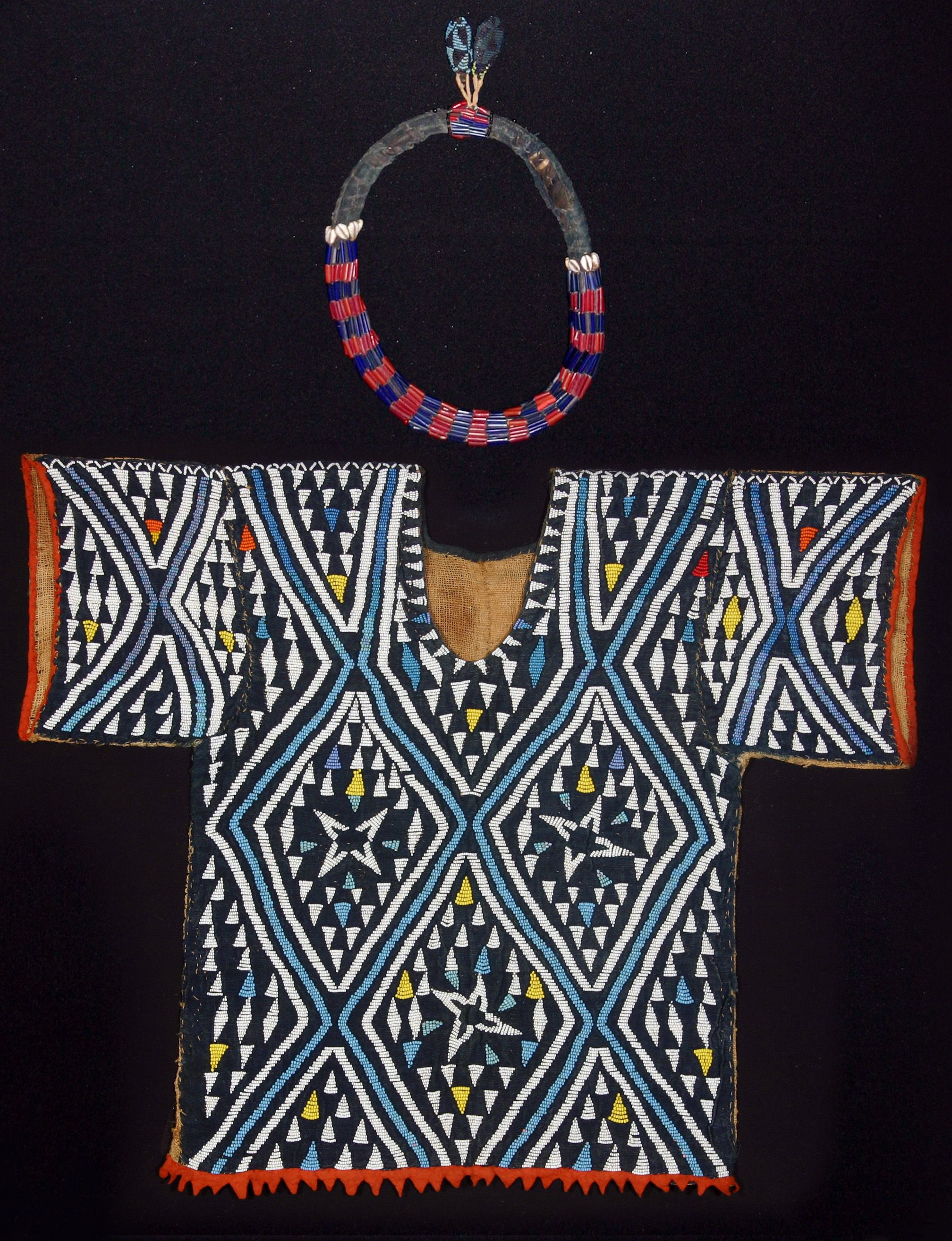 Africa a manus ceremonial dance jacket with necklace from the