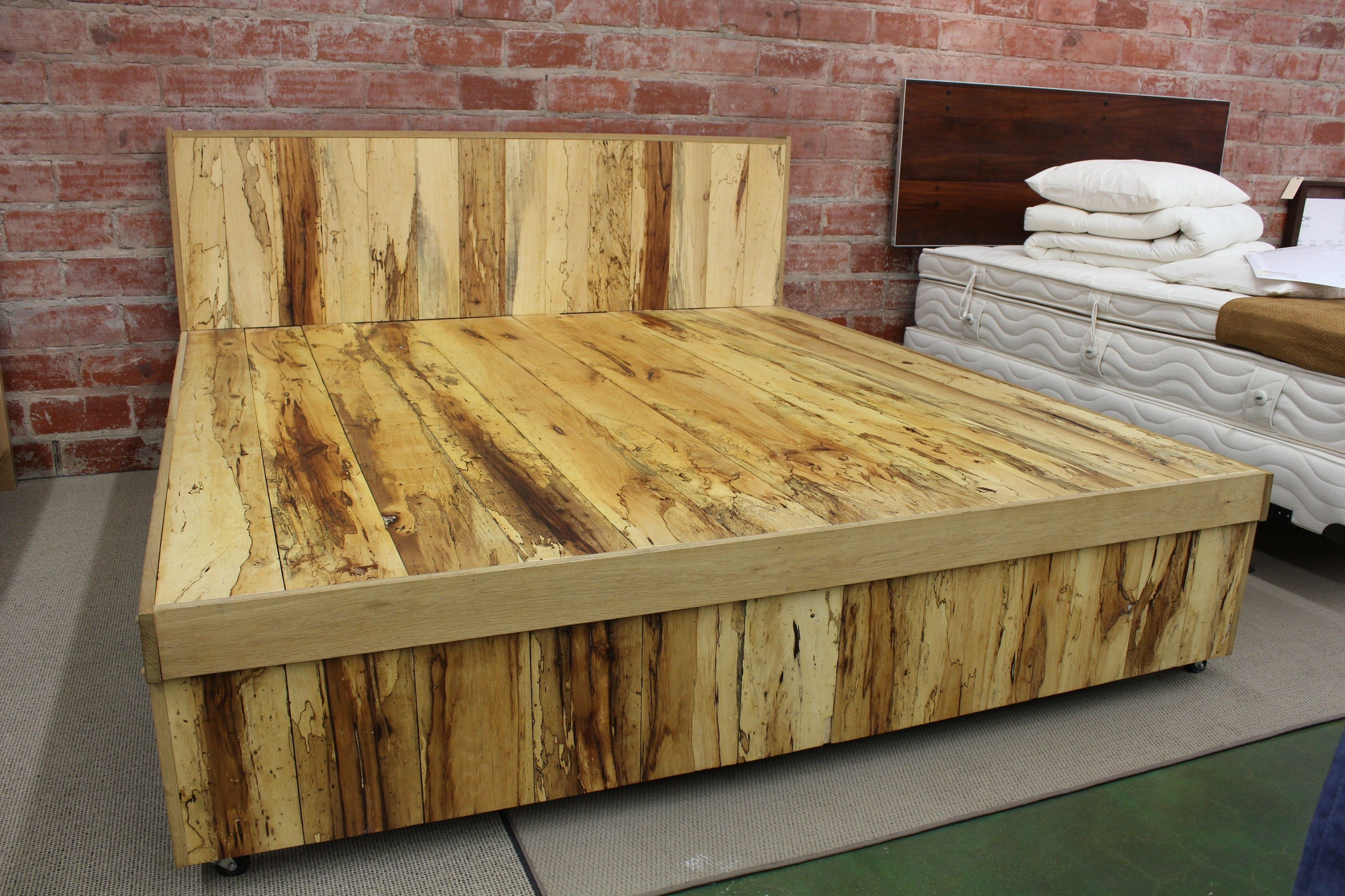 Natural Plank For Homemade King Frame With Storage Plus Exposed ...
