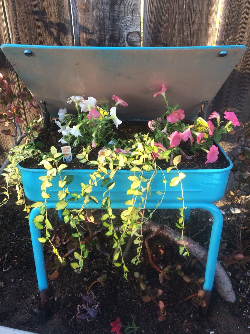 old school desk turned into a planter