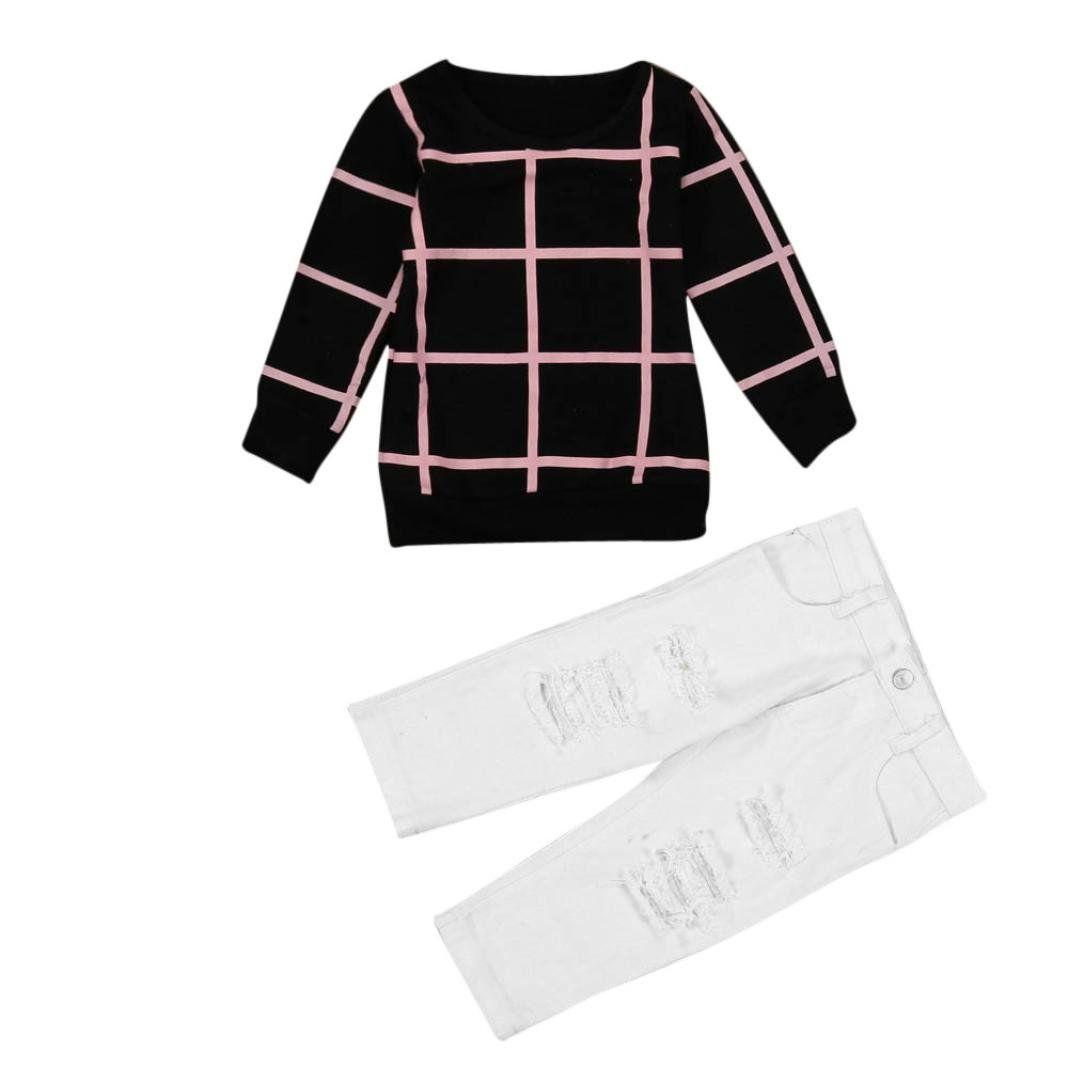 Toddler Kids Girls Warm Long Sleeve T-shirt Long Pants 1Set Outfit Clothes Tops