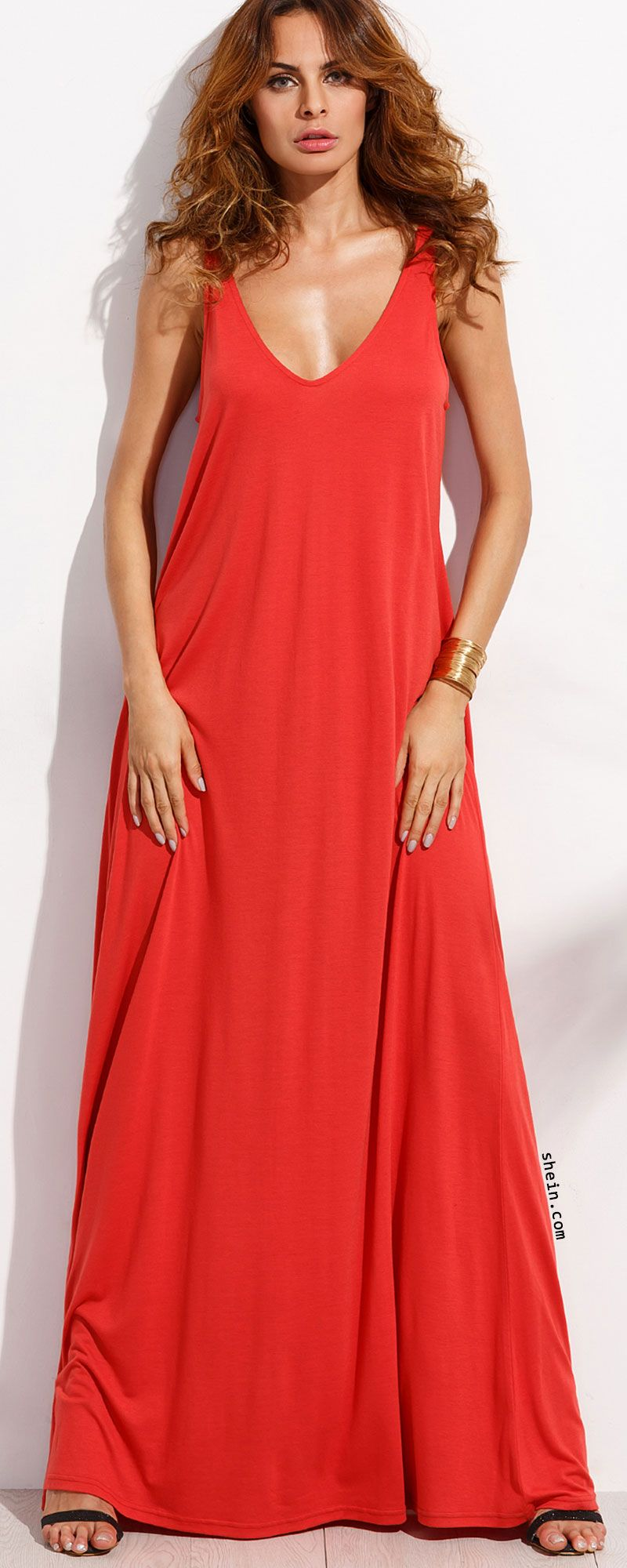 5d2429ccc3 Red Deep V Neck Sleeveless Knitted Shift Maxi Dress. Three colors available.