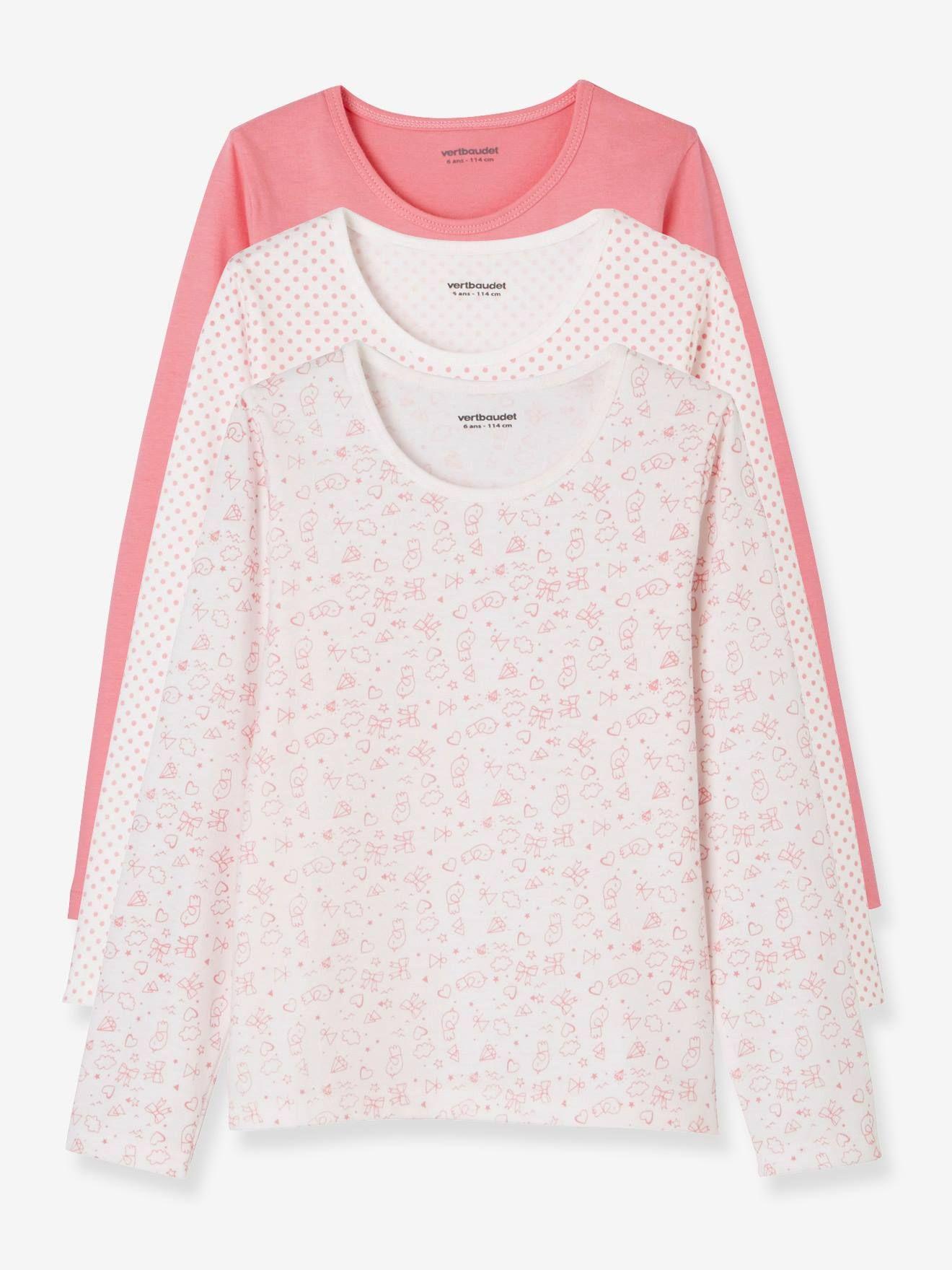 Lot de 3 T-shirts fille manches longues rose