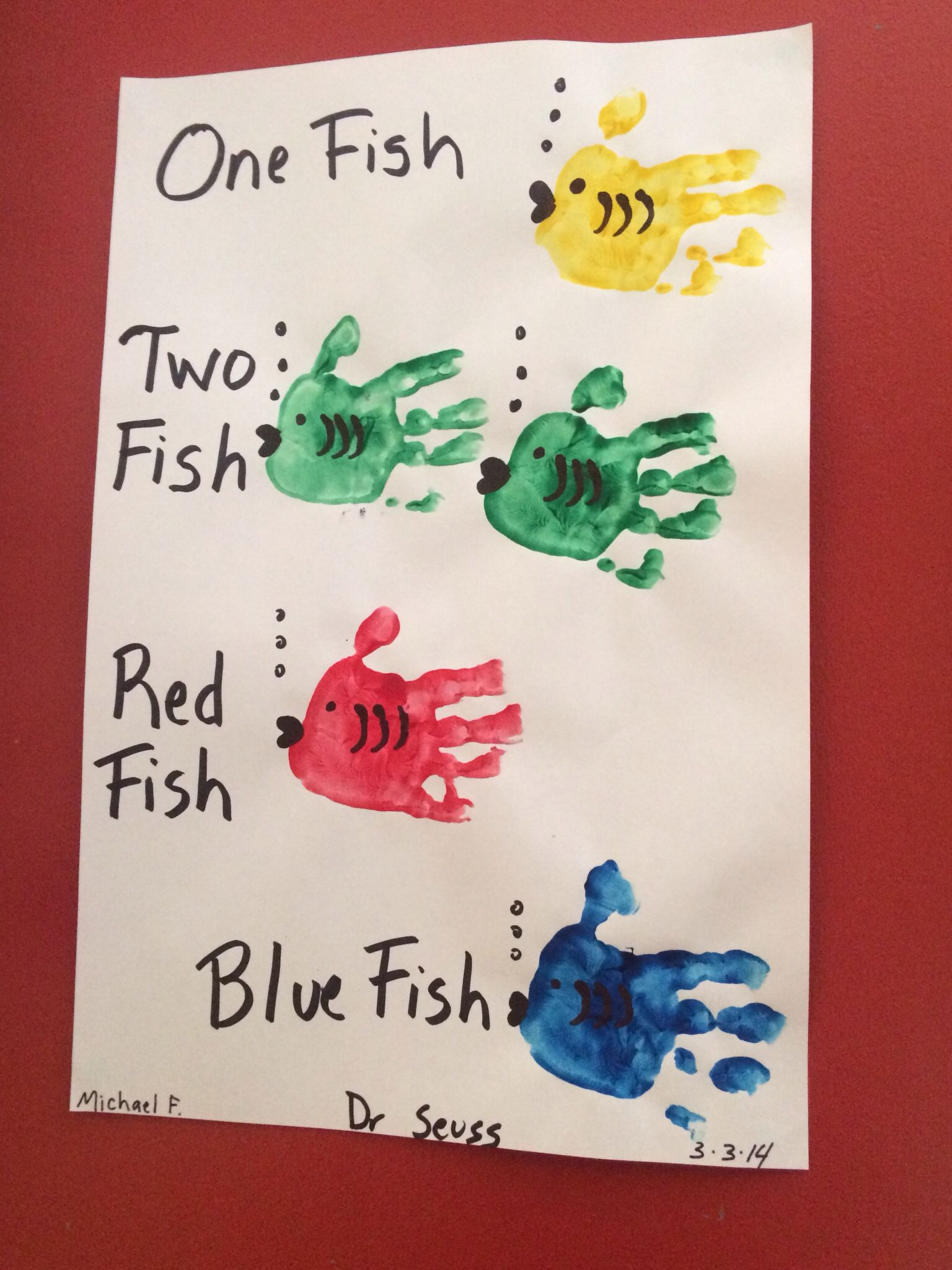 Dr Seuss Handprints One Fish Two Fish